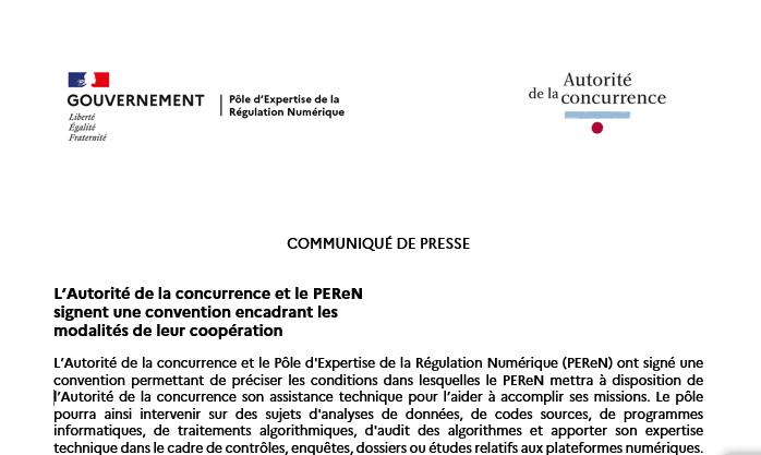 L'Autorité de la concurrence et le PEReN signent une convention encadrant les modalités de leur coopération